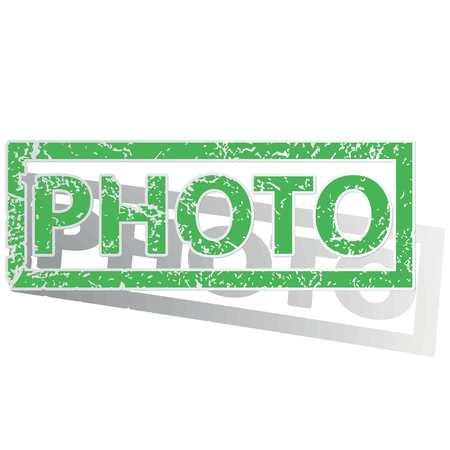 Green stamp with word PHOTO and shadow, isolated on white Illustration