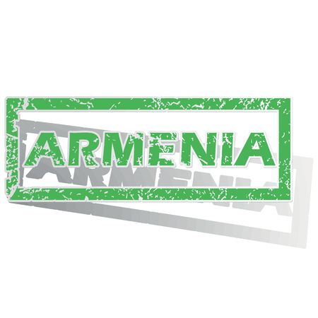 archive site: Green stamp with name Armenia and shadow, isolated on white Illustration