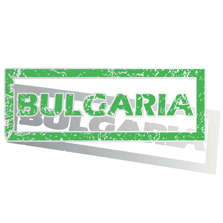 land mark: Green stamp with name Bulgaria and shadow, isolated on white