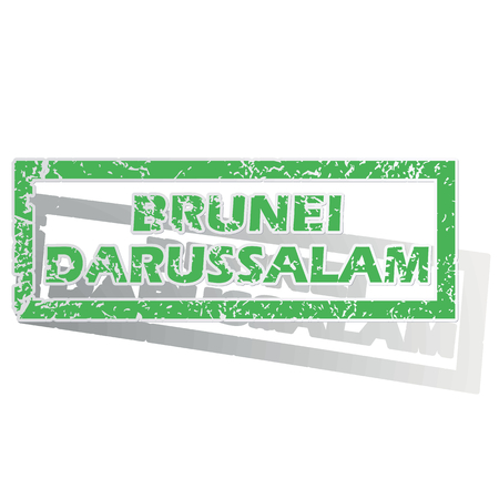 brunei darussalam: Green stamp with name Brunei Darussalam and shadow, isolated on white
