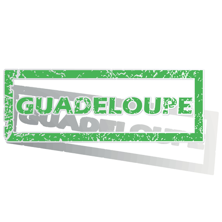 guadeloupe: Green stamp with name Guadeloupe and shadow, isolated on white
