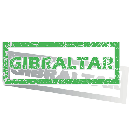 gibraltar: Green stamp with name Gibraltar and shadow, isolated on white Illustration