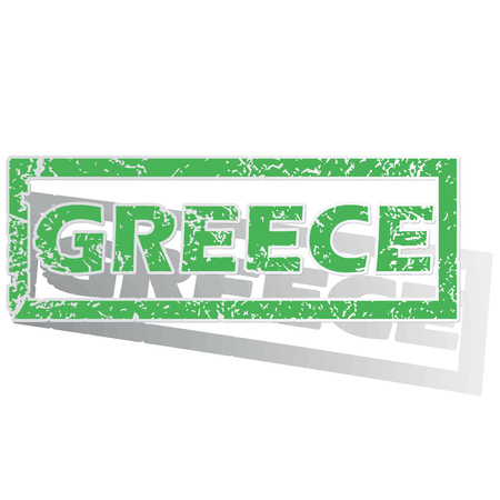 greece stamp: Green stamp with name Greece and shadow, isolated on white