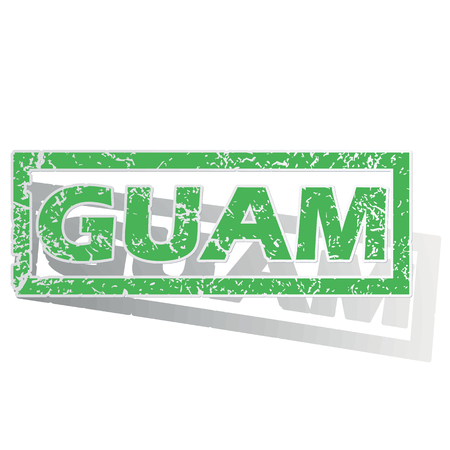 guam: Green stamp with name Guam and shadow, isolated on white