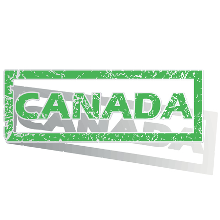 canada stamp: Green stamp with name Canada and shadow, isolated on white Illustration