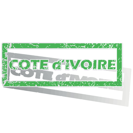 cote ivoire: Green stamp with name Cote d Ivoire and shadow, isolated on white