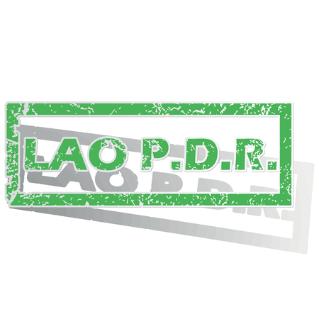 lao: Green stamp with name Lao PDR and shadow, isolated on white