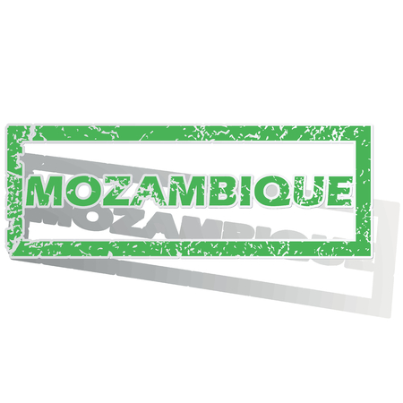 mozambique: Green stamp with name Mozambique and shadow, isolated on white