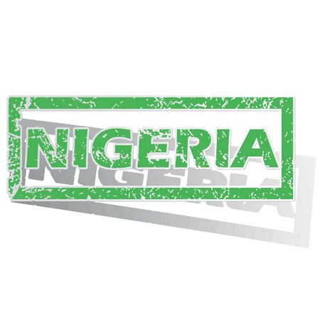 Green stamp with name Nigeria and shadow, isolated on white