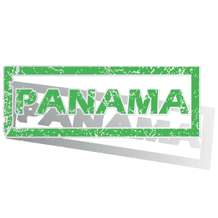 land mark: Green stamp with name Panama and shadow, isolated on white