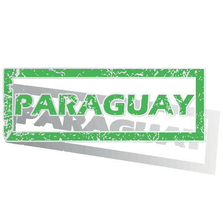 Green stamp with name Paraguay and shadow, isolated on white