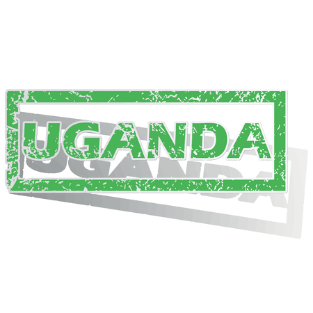 oeganda: Green stamp with name Uganda and shadow, isolated on white Stock Illustratie