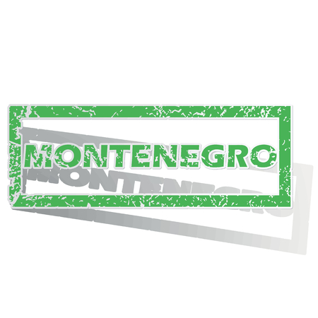 Green stamp with name Montenegro and shadow, isolated on white Illustration