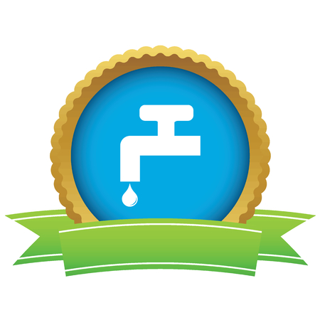 watertap: Certificate seal with image of tap and water drop, isolated on white
