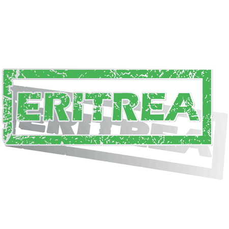 Green stamp with name Eritrea and shadow, isolated on white