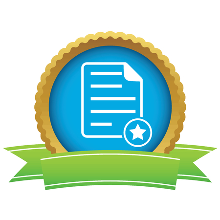 article writing: Certificate seal with image of document page and star, isolated on white