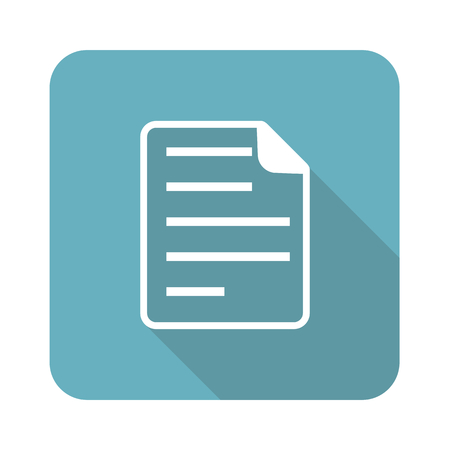 article writing: Blue vintage square icon with image of document page, isolated on white Illustration
