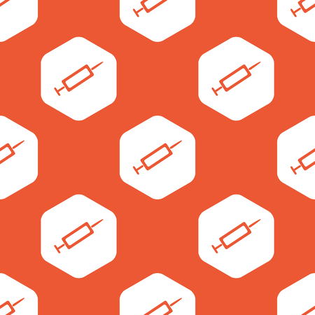 repeated: Image of syringe in white hexagon, repeated on orange background Illustration