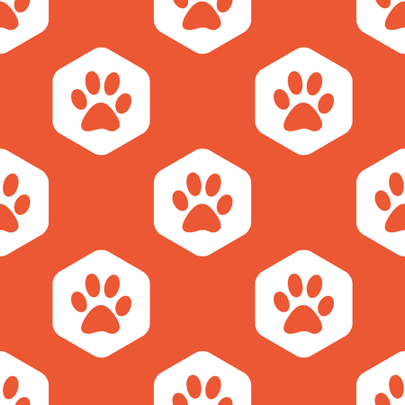 track pad: Image of paw print in white hexagon, repeated on orange background