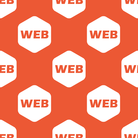 repeated: Text WEB in white hexagon, repeated on orange background Illustration