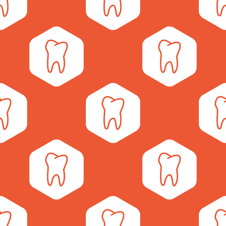 dens: Image of tooth in white hexagon, repeated on orange background