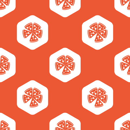 repeated: Image of pizza in white hexagon, repeated on orange background