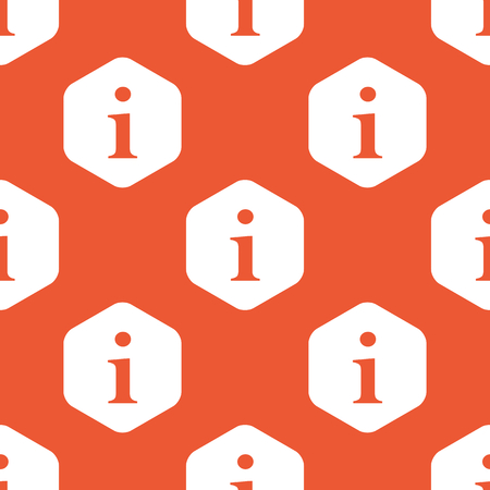 Letter I in white hexagon, repeated on orange background