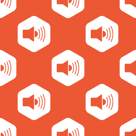 repeated: Image of loudspeaker in white hexagon, repeated on orange background