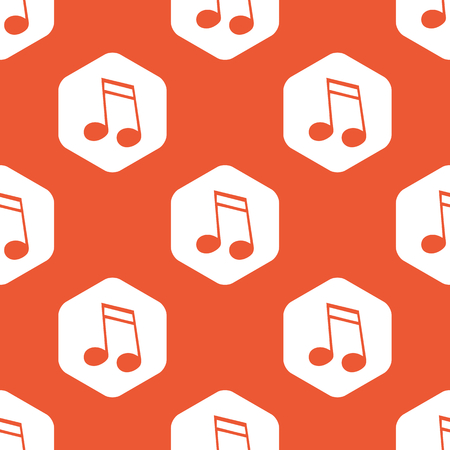sixteenth note: Image of sixteenth note in white hexagon, repeated on orange background Illustration
