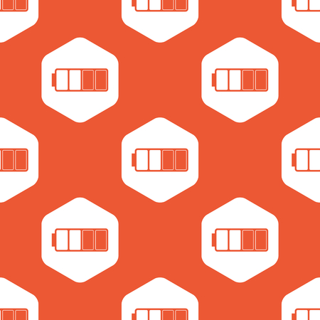 half full: Image of half full battery in white hexagon, repeated on orange background