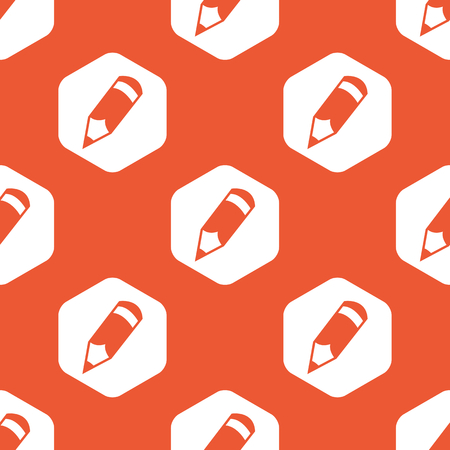 repeated: Image of pencil in white hexagon, repeated on orange background