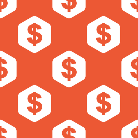 repeated: Dollar symbol in white hexagon, repeated on orange background Illustration