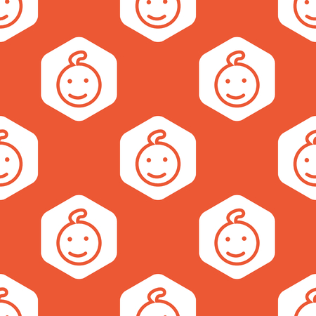 enfant qui sourit: Image of smiling child face in white hexagon, repeated on orange background Illustration