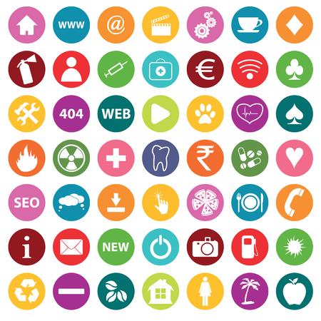 icone tonde: Tondo colorate icone rotonde con immagini diverse, isolato su bianco Vettoriali