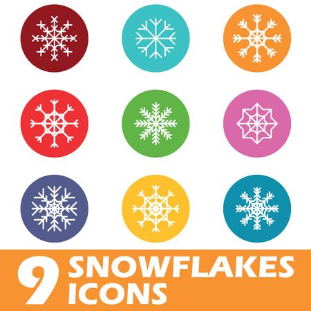 icone tonde: Nove icone rotonde colorati con diversi fiocchi di neve, isolato su bianco Vettoriali