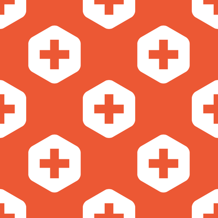 mathematical operation: Plus symbol in white hexagon, repeated on orange background