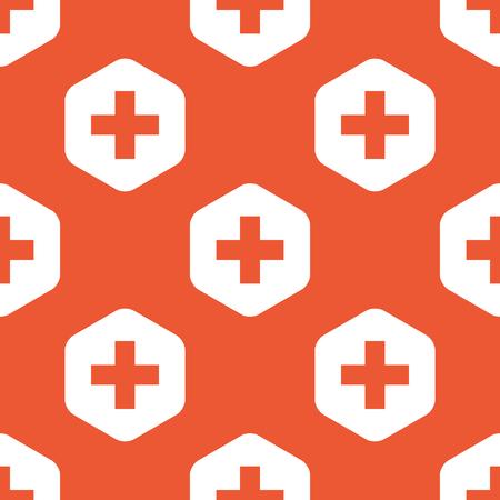 plus symbol: Plus symbol in white hexagon, repeated on orange background