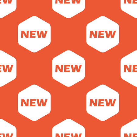 notable: Text NEW in white hexagon, repeated on orange background