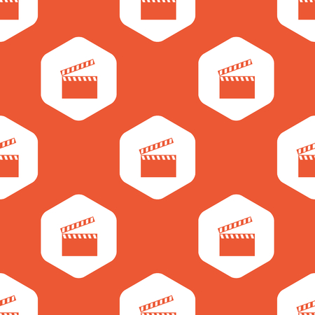 repeated: Image of clapperboard in white hexagon, repeated on orange background