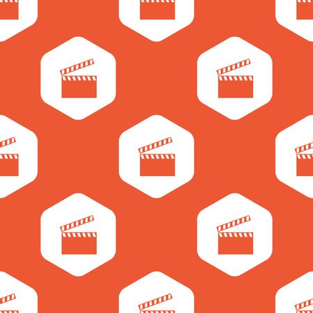 cinematograph: Imagen de claqueta en hex�gono blanco, que se repite en el fondo de color naranja