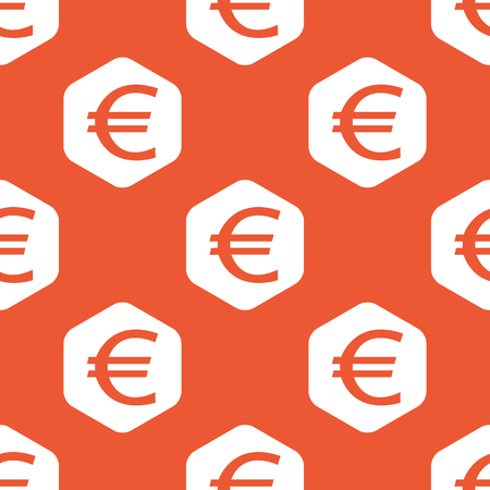 repeated: Euro symbol in white hexagon, repeated on orange background