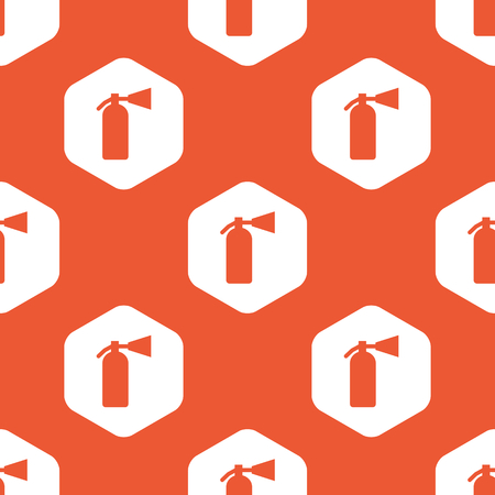 conflagration: Image of fire extinguisher in white hexagon, repeated on orange background