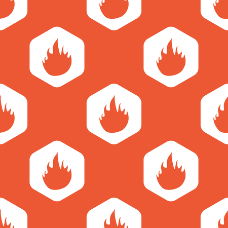 conflagration: Image of flame in white hexagon, repeated on orange background Illustration
