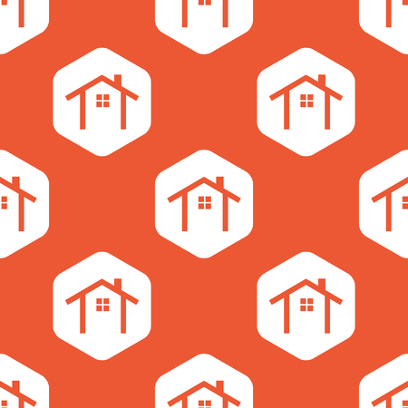 Image of house contour in white hexagon, repeated on orange background