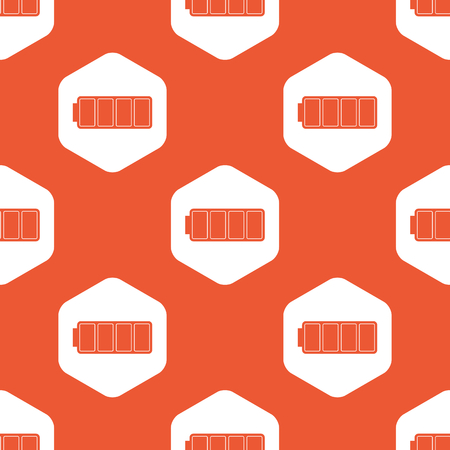 charged: Image of full battery in white hexagon, repeated on orange background