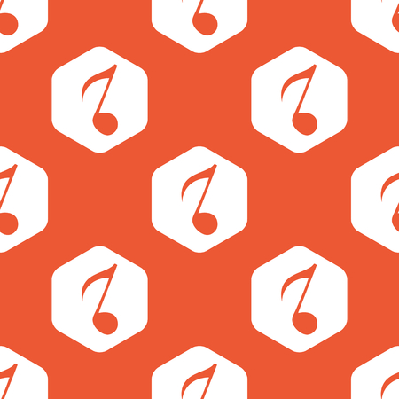 gamut: Image of eighth note in white hexagon, repeated on orange background Illustration