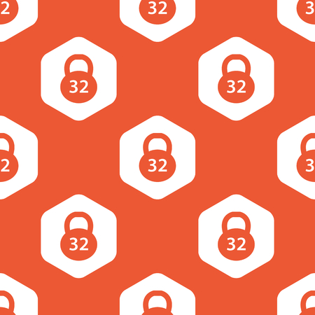32: Image of 32 kg dumbbell in white hexagon, repeated on orange background