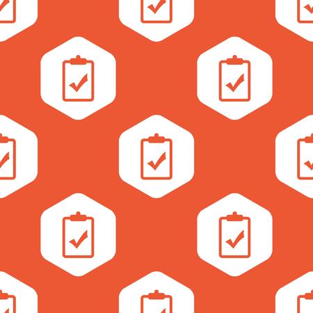 tick mark: Imagen de portapapeles con marca de graduaci�n en hex�gono blanco, que se repite en el fondo de color naranja Vectores