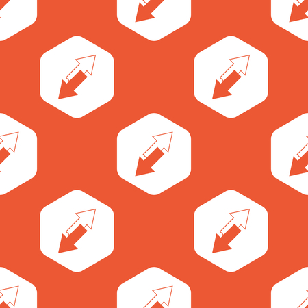 tilted: Image of two opposite tilted arrows in white hexagon, repeated on orange background Illustration