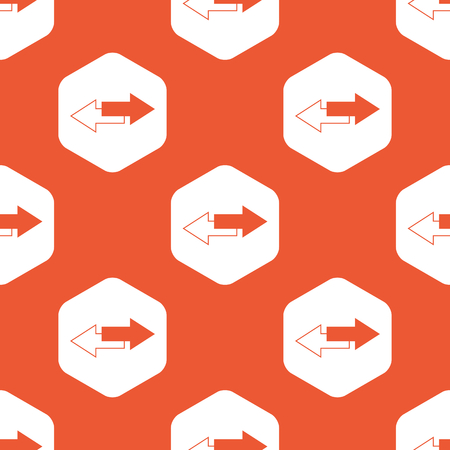 opposite arrows: Image of two straight opposite arrows in white hexagon, repeated on orange background